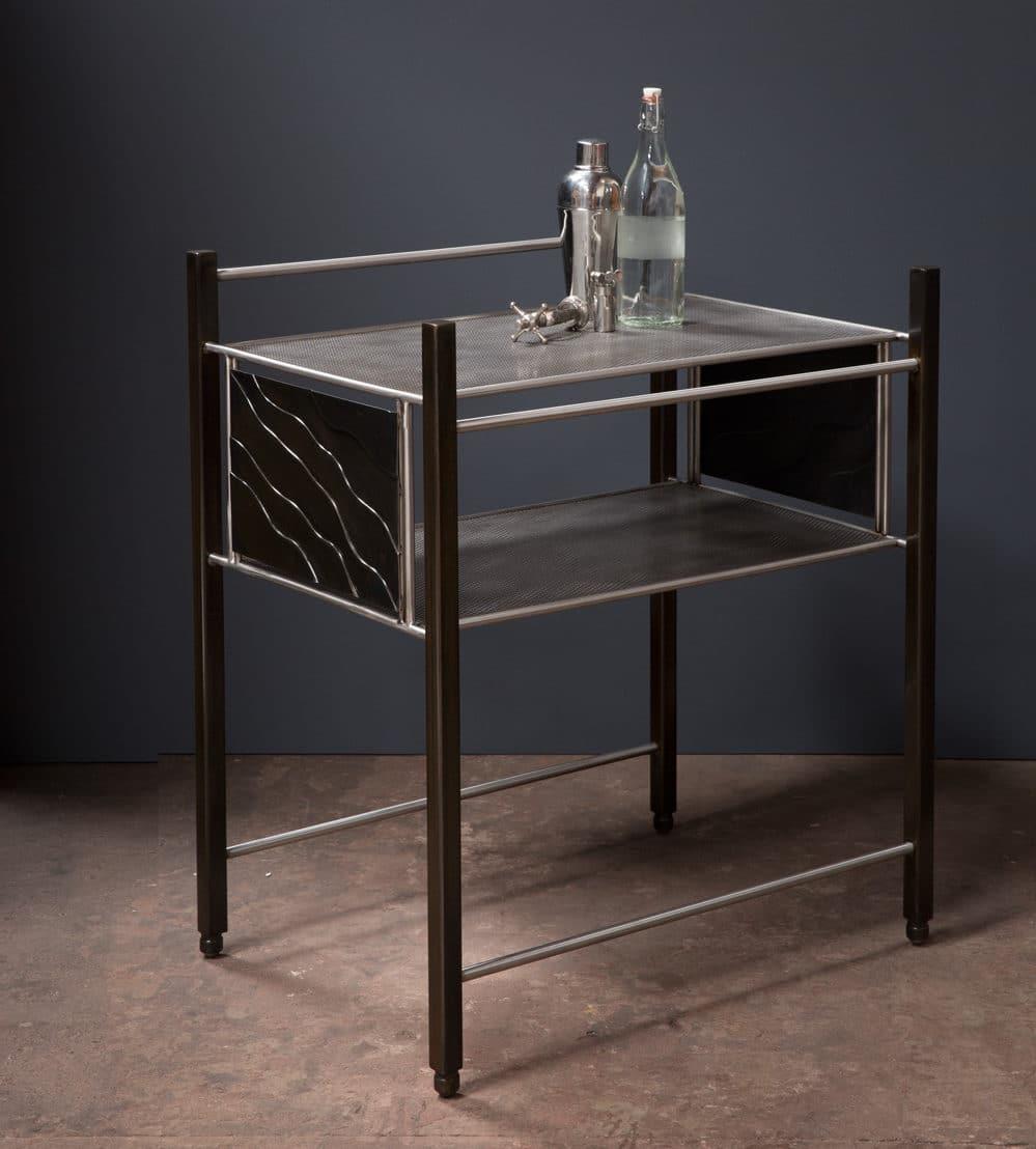 metal utility cart, desk, wood, metalwork, metal work, metal fabrication, bay area metalworker