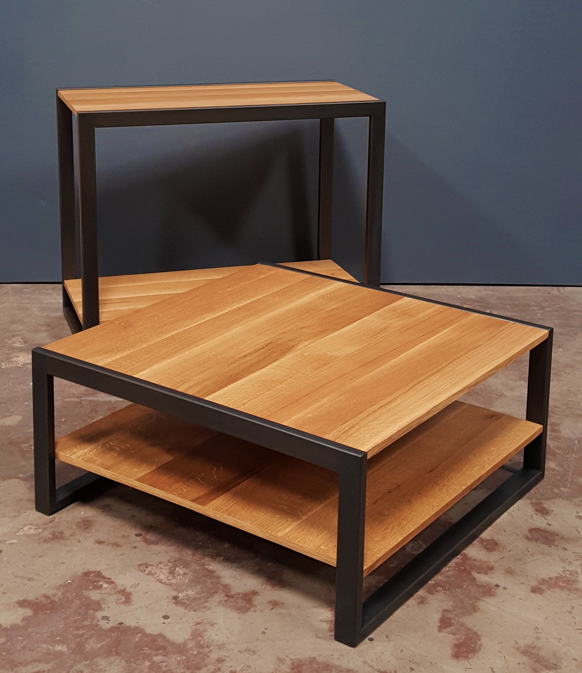two accent tables, square and rectangular
