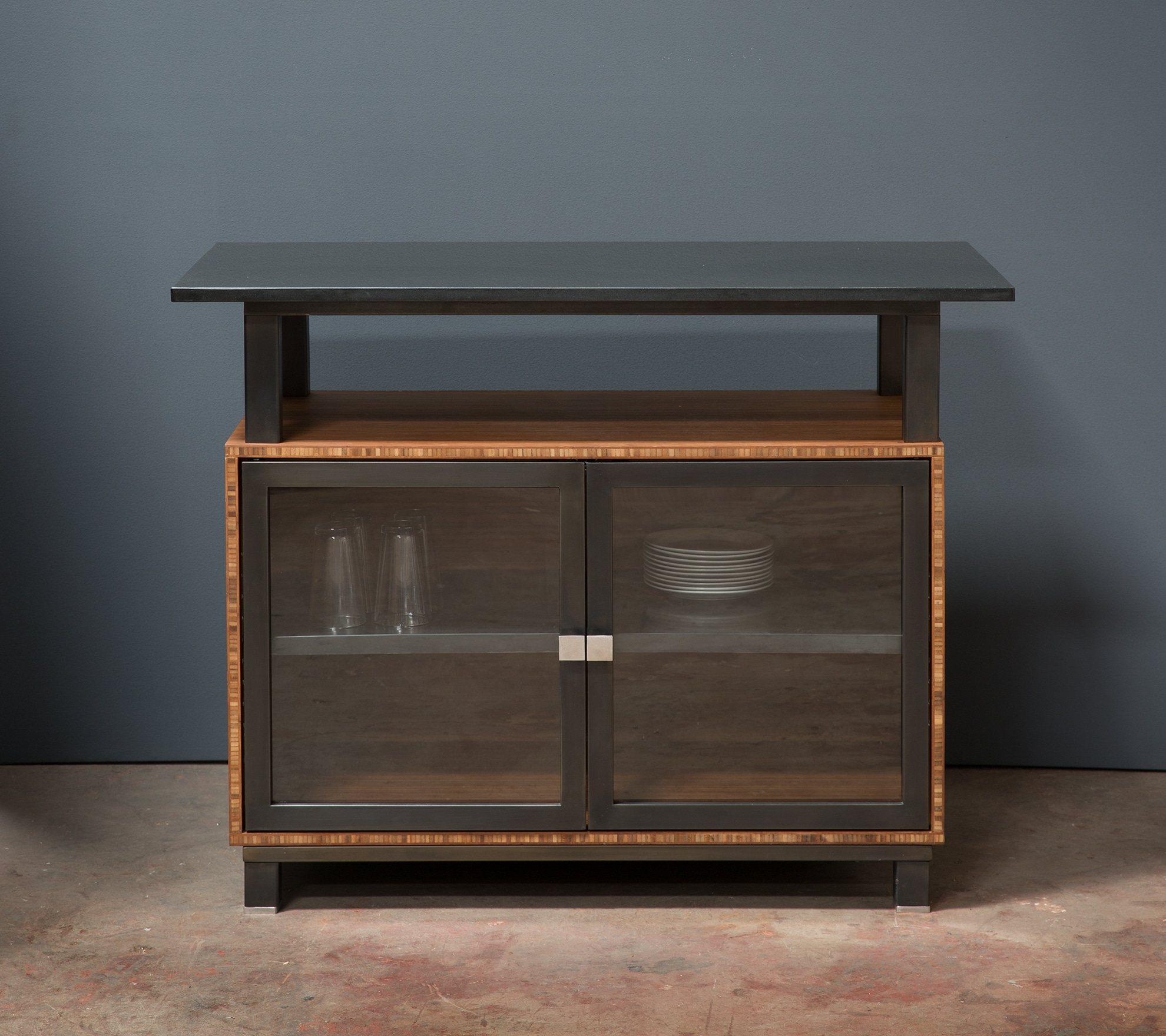 kitchen island with bamboo base and granite top