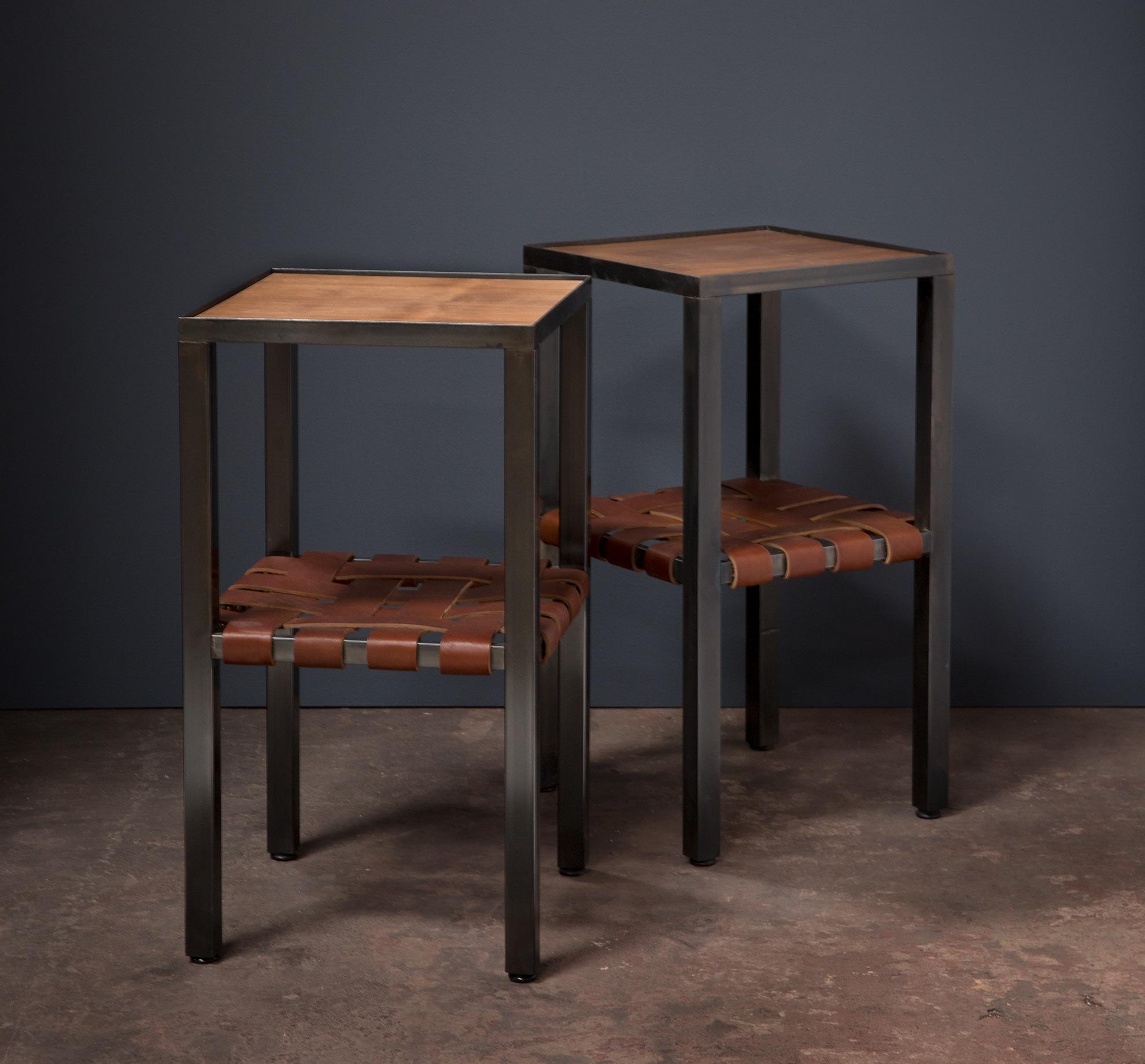 leather and steel nightstands, desk, wood, metalwork, metal work, metal fabrication, bay area metalworker