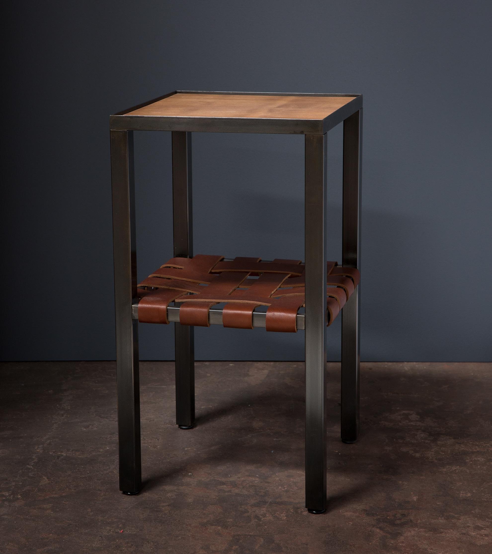 leather and steel nightstand, desk, wood, metalwork, metal work, metal fabrication, bay area metalworker