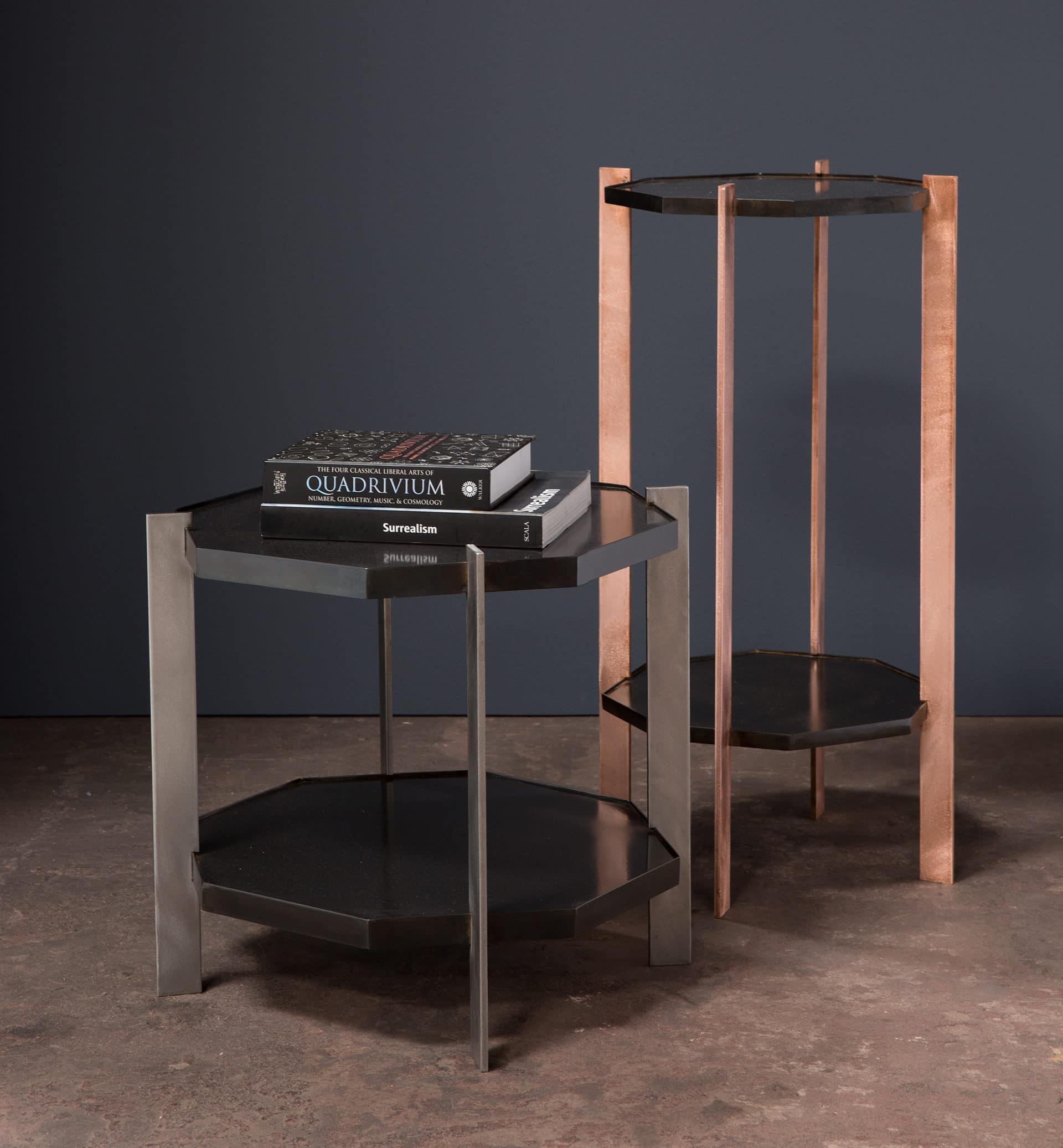 coffee tables copper and steel legs, metal work, metalworker, interior design