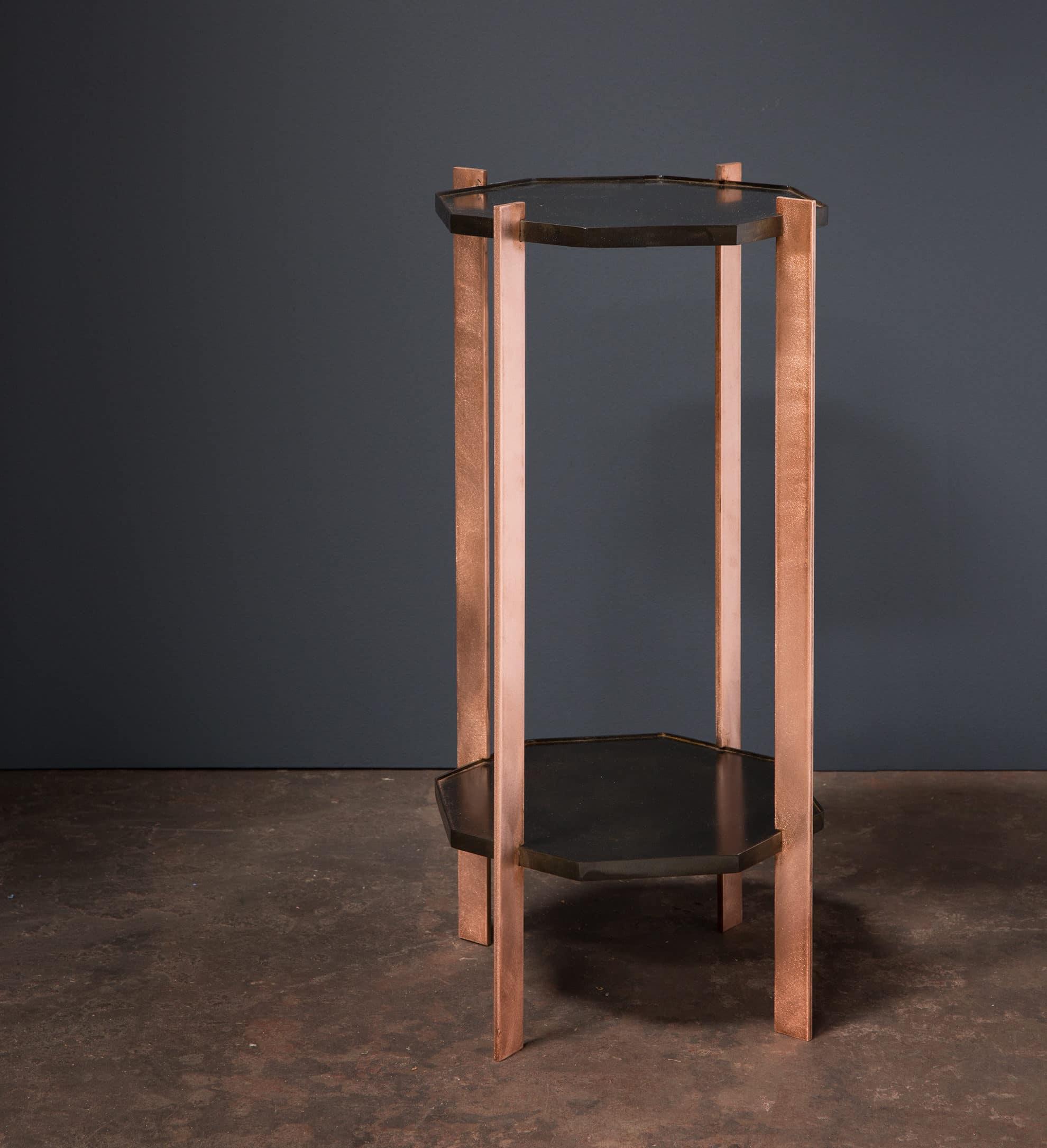 metalic tables copper and steel legs, metal work, metalworker, interior design