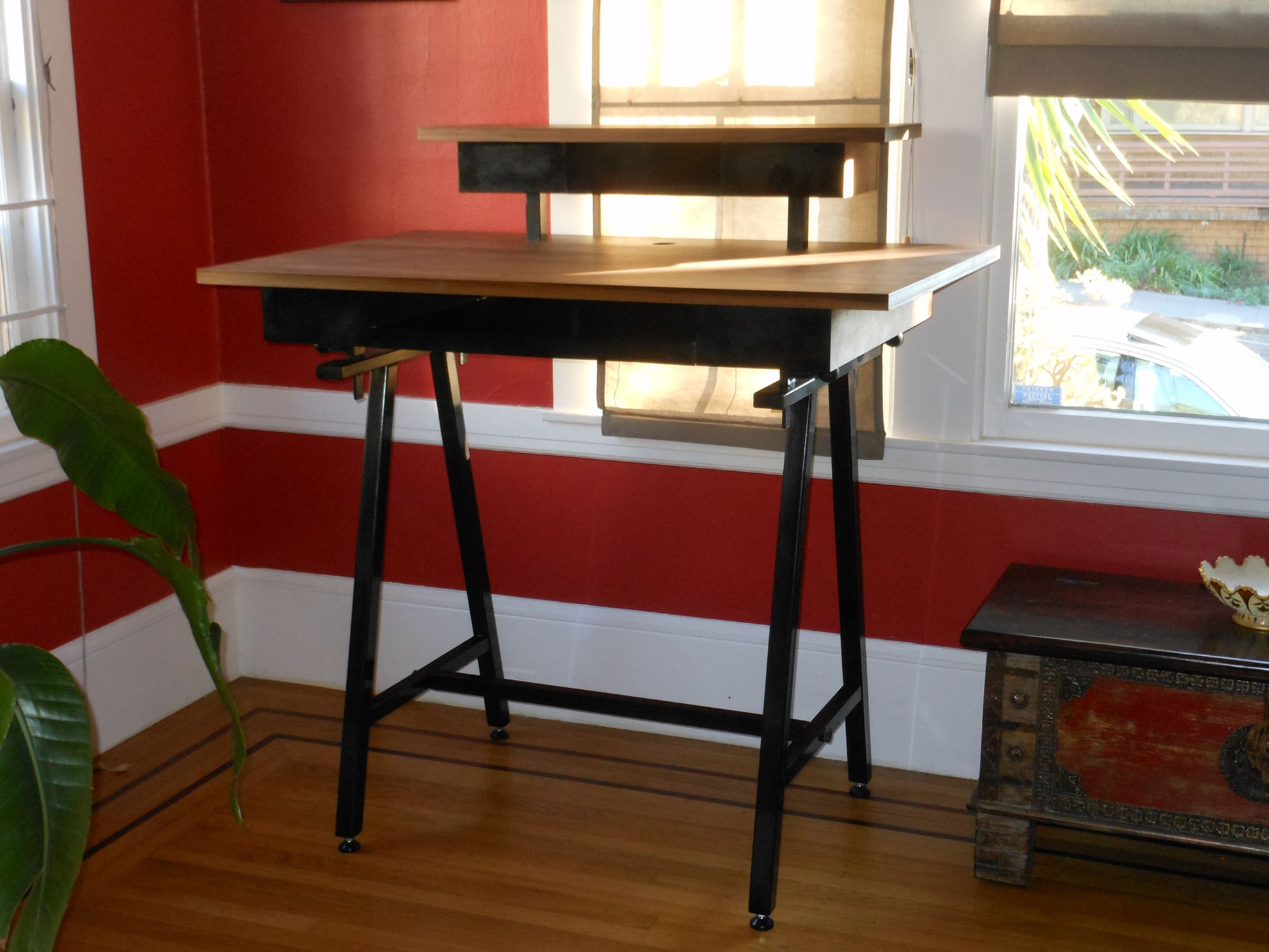 standing desk with two tiers, front view
