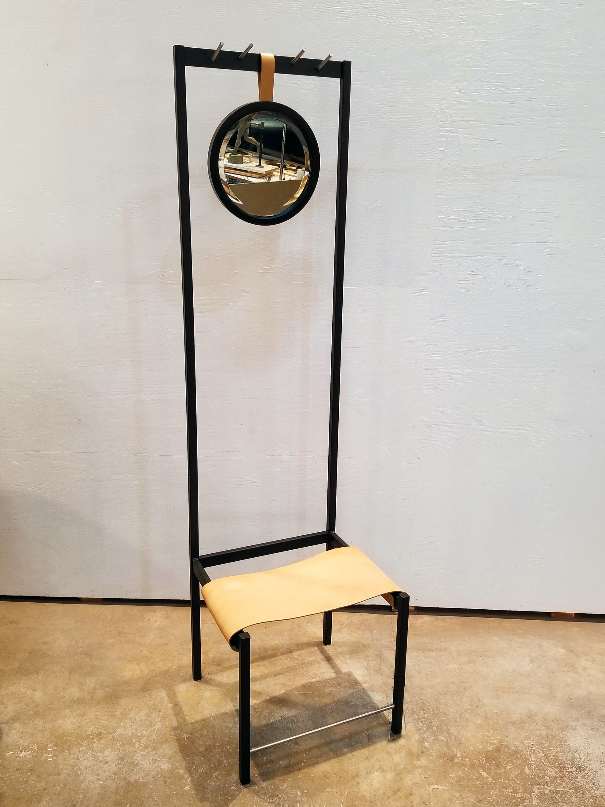 portfolio, entryway accessory chair with mirror and hooks