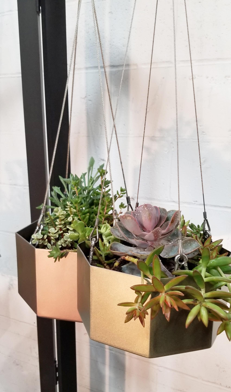 geometric metallic hanging planters, portfolio